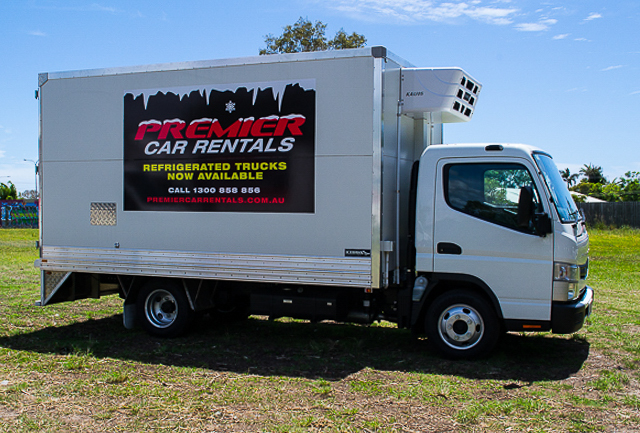 Refrigeration Canter truck for hire at Premier Car Rentals, Hope Island, Runaway Bay, Coomera, Gold Coast
